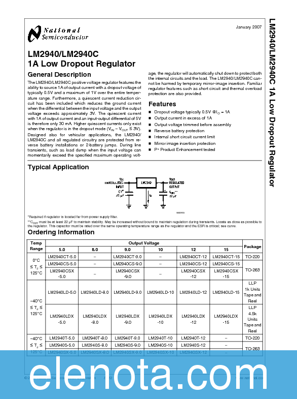Lm2940-n 1a low dropout regulator | ti. Com.