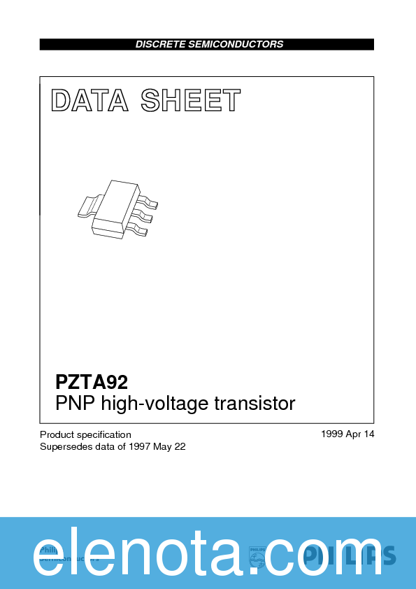 Pzta92 datasheet, equivalent, cross reference search. Transistor.